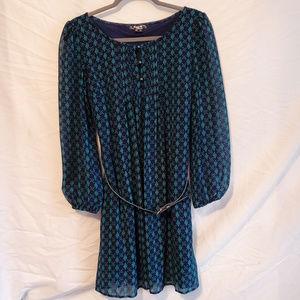 Sequin Hearts Long-Sleeve Chiffon Dress
